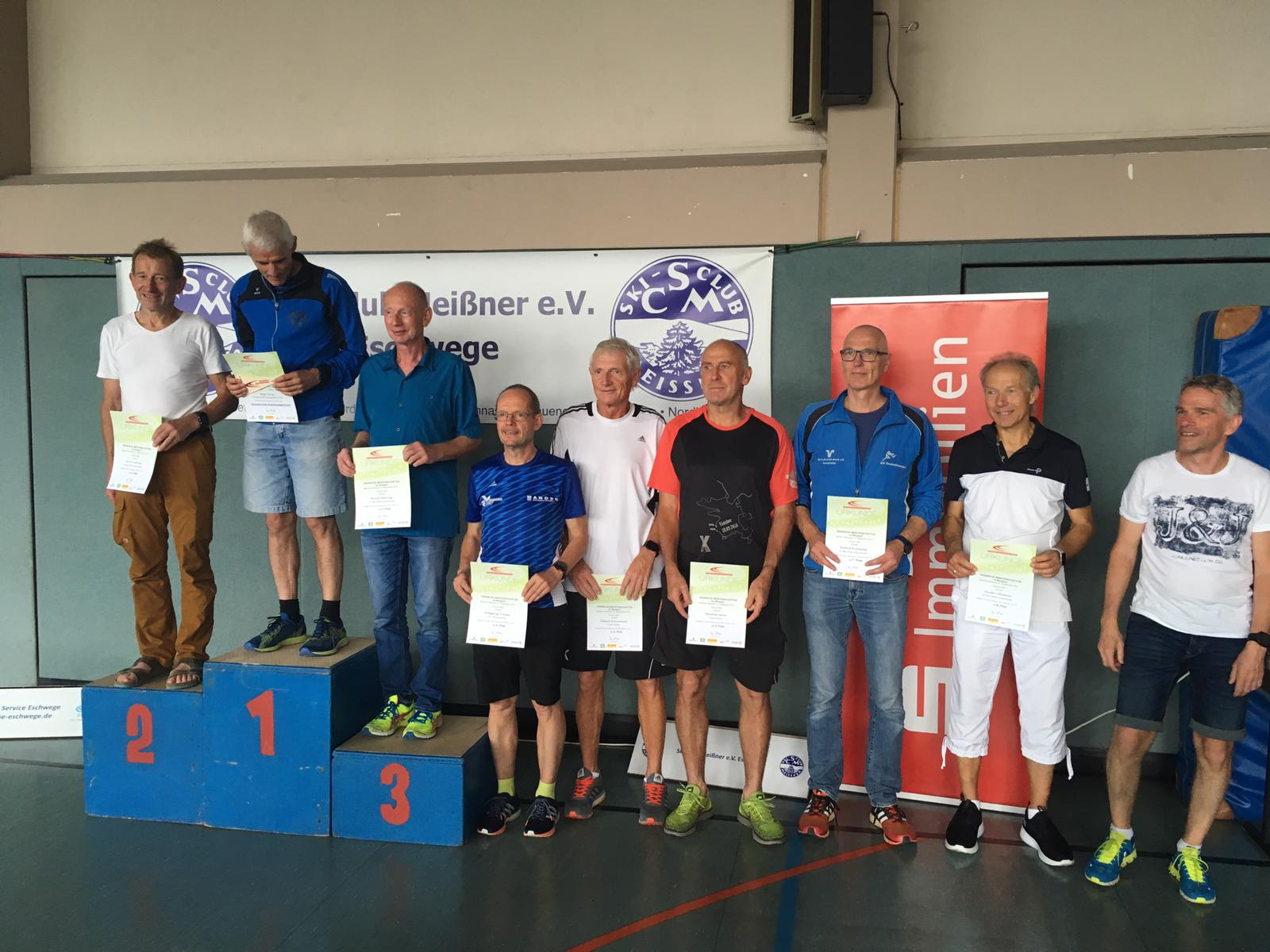 M60 Siegerehrung: Klaus Kirschner, Bernd Mehring, Helmut Ruhwedel und Günther Lehmann